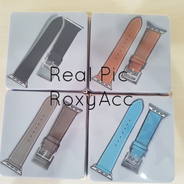 Foto Produk Apple Watch Hermes Strap 42mm Leather Single Tour (OEM) - Biru Muda dari Roxy Acc
