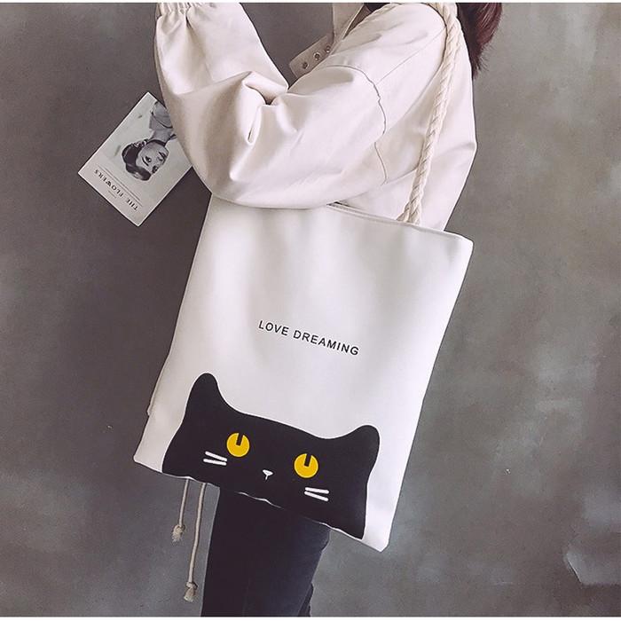 Foto Produk TS92 Creative White Tote Bag / Tas Wanita - Love Dreaming dari EnnWen Online Store
