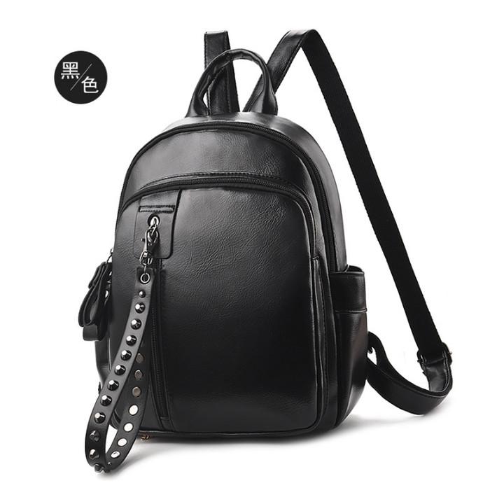 Foto Produk Tas Ransel Import Backpack Wanita Punggung Sekolah Kuliah Kerja 116 - HITAM BLACK dari BarakAllah Store