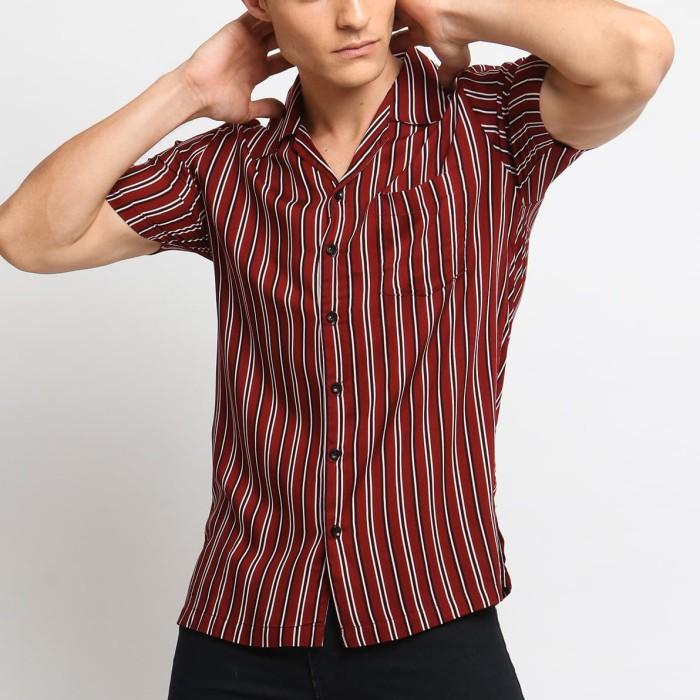 harga Mentli kemeja pria stripe - wesley casual shirt - merah xl Tokopedia.com