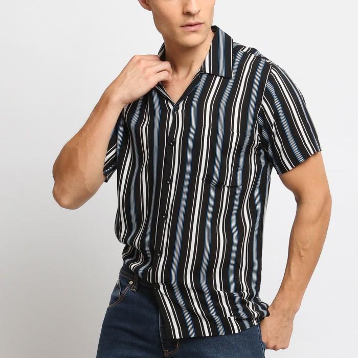 harga Mentli kemeja pria stripe - borka casual shirt - hitam xl Tokopedia.com