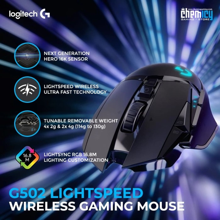 Jual Logitech G502 HERO 16K Lightspeed Wireless Gaming Mouse - Kota Bekasi  - Chemicy Gaming | Tokopedia
