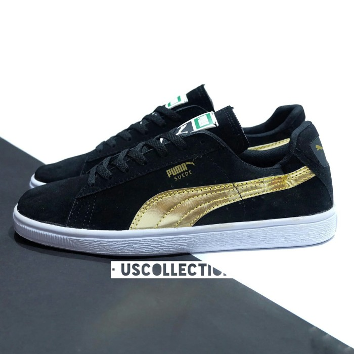 Jual Sepatu Puma Suede Hitam Emas Sneakers Pria Kota Bandung