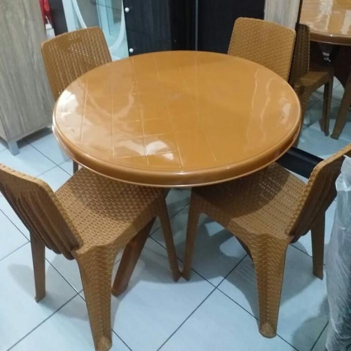 Foto Produk 1bh meja plastik bulat plus 4bh kursi makan Napoly dari HAPPY PERABOT