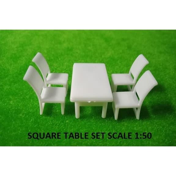 Jual MINIATUR SQUARE TABLE SET SKALA 1:50 MAKET DESAIN ...