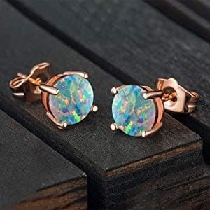 Foto Produk Rose Gold Plated Opal Stud Earrings Round Opal Stud Earrings dari Dewi ratna store
