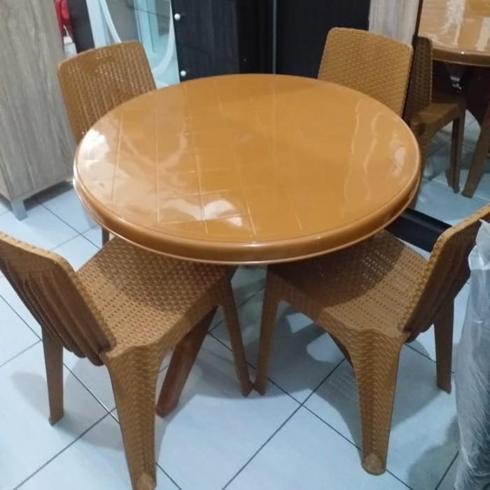 Foto Produk 1bh Meja Plastik bulat + 4bh kursi makan Napoly dari Happy Perabot (fuji)