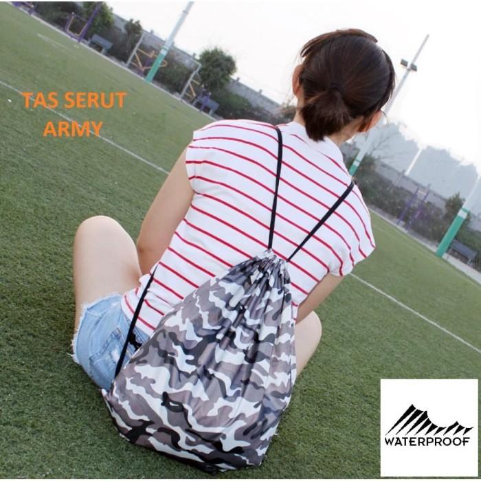 Foto Produk BP24 Tas Serut Army Camo Waterproof / Tas Pria Wanita Backpack Tentara - Army Enam dari EnnWen Online Store