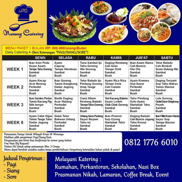 Jual Catering Harian Bulanan A Makan Pagi Atau Siang Kab