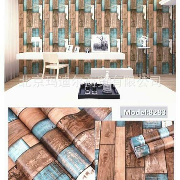 Foto Produk papan kombinasi vintage 45 cm x 10 mtr || Wallpaper dinding dari dedengkot wallpaper