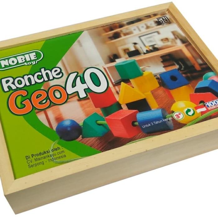 Foto Produk Ronche Geo 40pcs, Mainan Edukatif edukasi kayu anak SNI Murah Unik TK dari Pipih Flanel