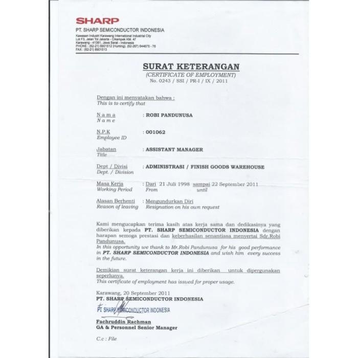 Jual Paklaring Surat Keterangan Pengalaman Kerja Dki Jakarta Toko Benos Tokopedia