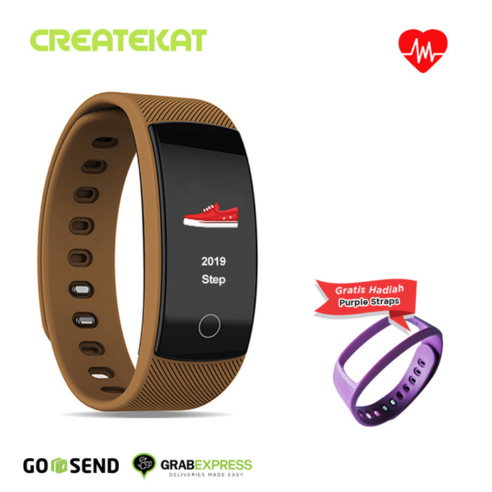 harga Createkat smartwatch heart rate monitor smart band gelang pintar - cokelat Tokopedia.com