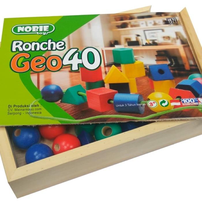 Foto Produk Ronche Geo 40pcs, Mainan Edukatif edukasi kayu anak SNI Murah Unik TK dari Elsa Toys