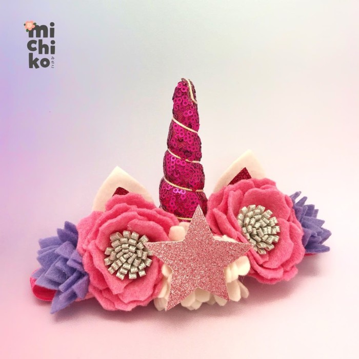 harga Unicorn sequin star headband / bandana bayi - michiko - hot pink Tokopedia.com