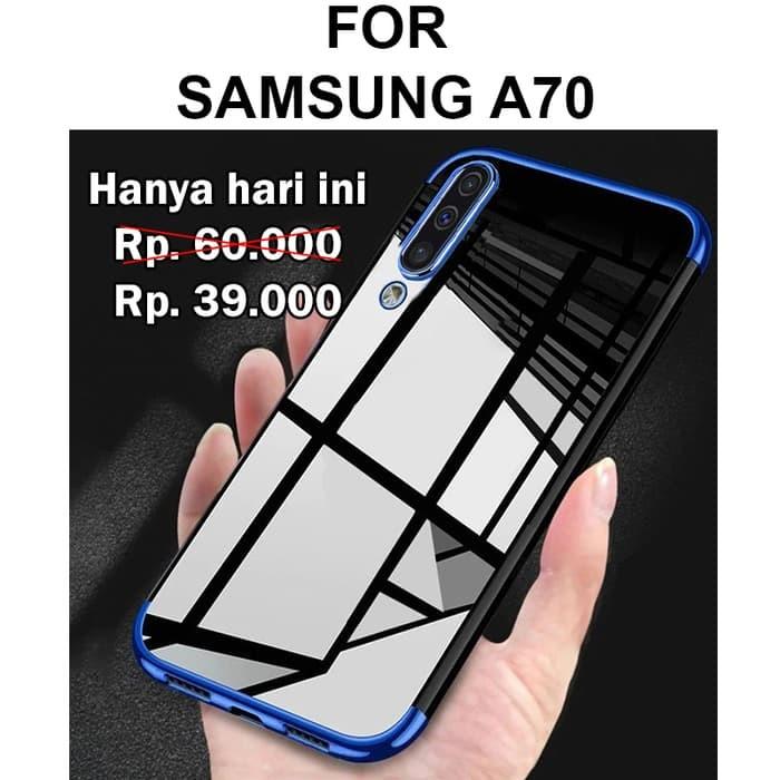Foto Produk Case Samsung A70 softcase casing hp back cover ultra thin TPU PLATING - Black dari Case Pedia