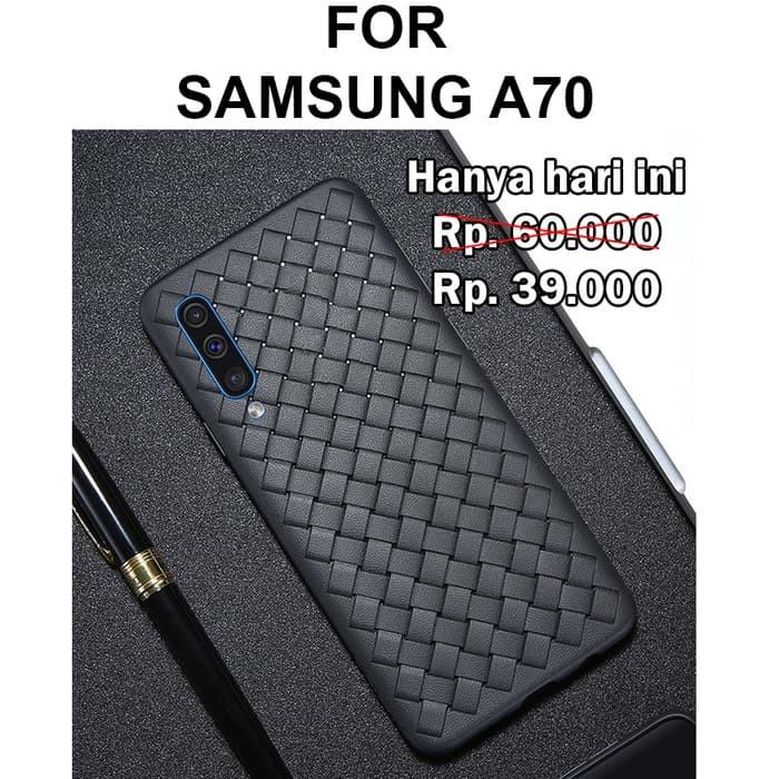 Foto Produk Case Samsung A70 softcase casing hp cover ultra thin tpu botega WOVEN - Black dari Case Pedia