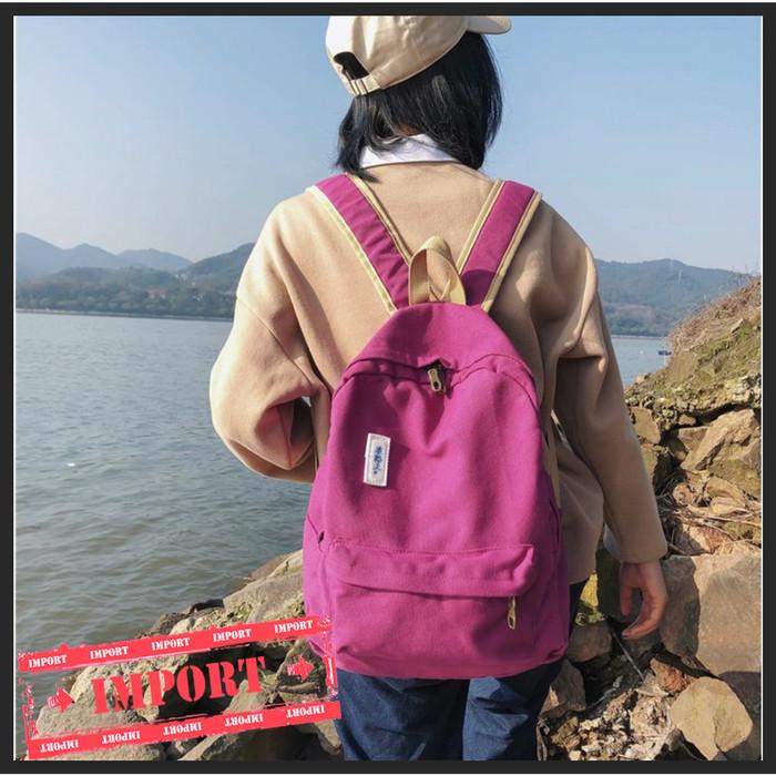 Foto Produk Tas Ransel Multifungsi Backpack Modern Kanvas Simple Colour (WYK47) - Abu-abu dari tkm online store