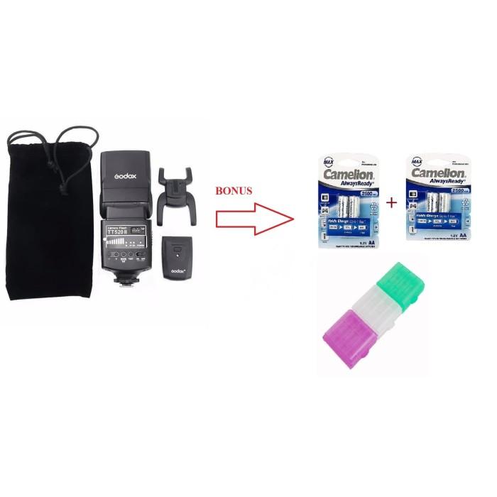 Foto Produk Paket Murah Hemat Flash Godox TT520+2Set Baterai Camelion+Case Baterai dari Grosir Aksesoris Kamera