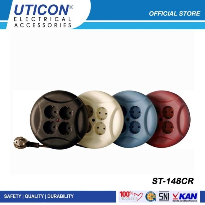 Foto Produk UTICON Kabel Gulung UFO 4 Meter - Power Extension ST148CR - Biru Muda dari UTICON