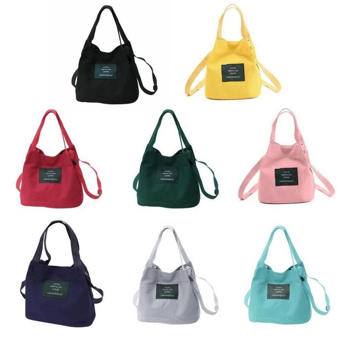 Foto Produk ♥♀Tas Bahu Kecil Kanvas Wanita Crossbody Satchel Bucket Bags dari era nuur