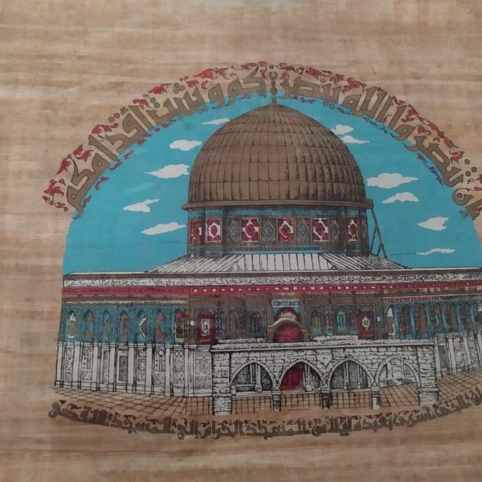 jual lukisan papyrus masjid al aqsa kab tangerang wush