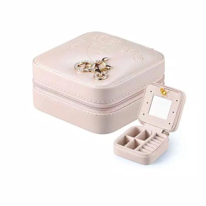 Foto Produk Kotak Perhiasan Portabel Box Aksesoris Travel LOGO BEIGE KREM dari ALBALAD MOSLEM STORE