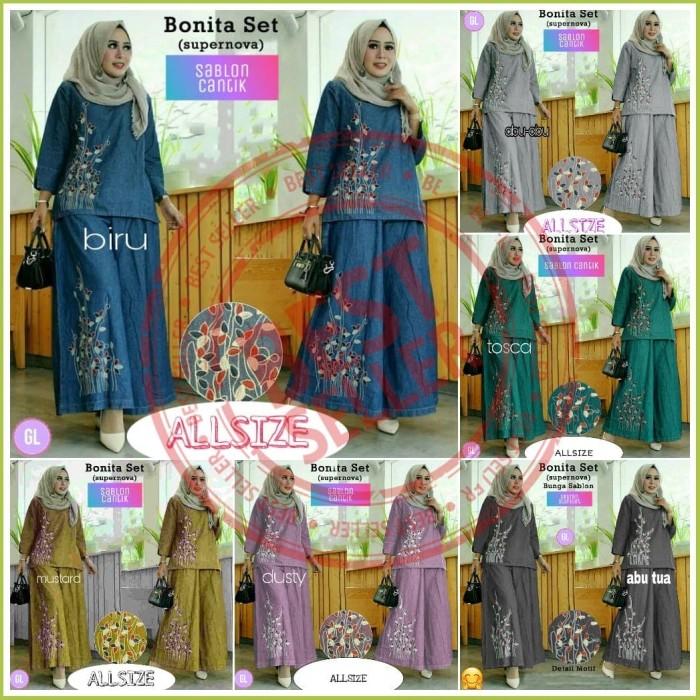 Foto Produk 7831 bonita set/stelan muslim murah/stelan kulot muslim/baju grosir - Tulis warna dari Glory Purple Shop
