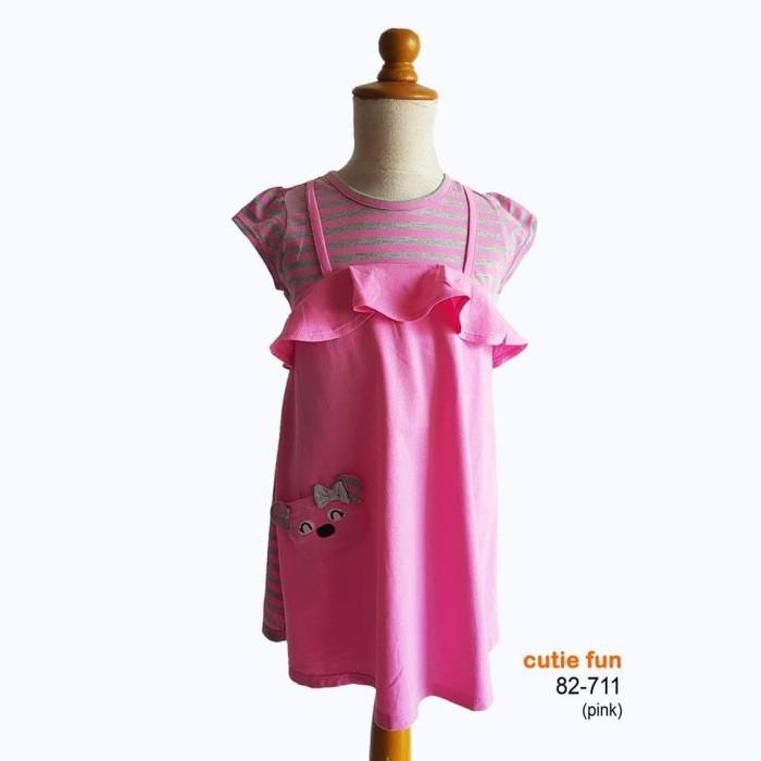 harga Cutie fun 82-711 pakaian baju dress anak perempuan (usia 2-11 tahun) - merah muda 6-7 tahun Tokopedia.com