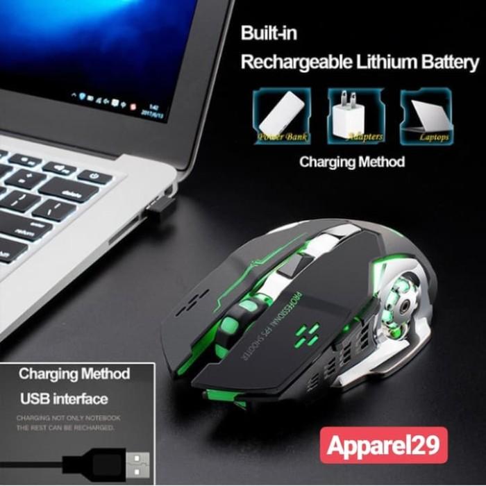 Foto Produk Mouse Wireless Gaming Silent USB Optical Ergonomic Rechargeable 7 LED dari apparel29