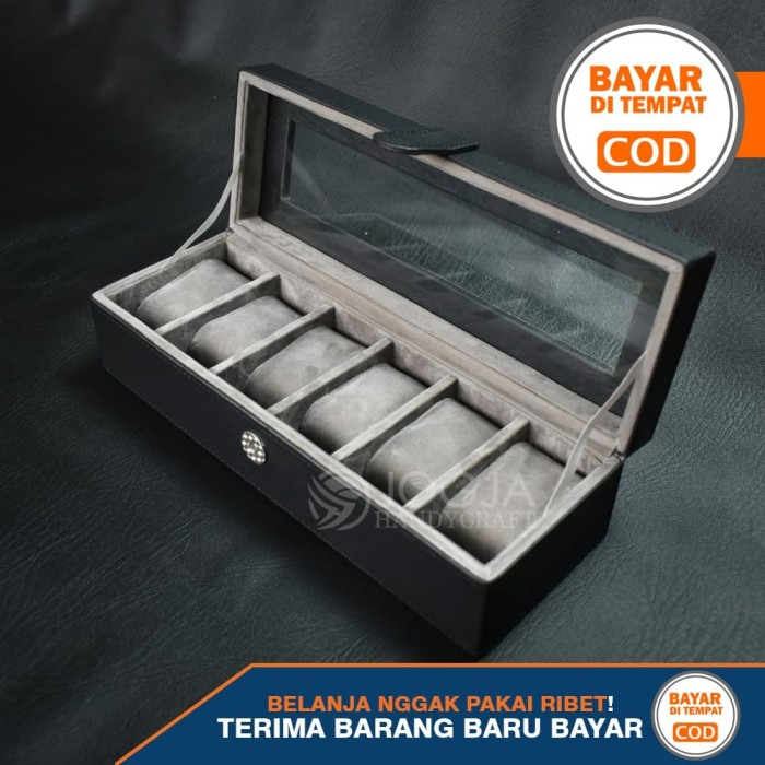 Foto Produk Kotak Jam Tangan Isi 6 / Box Tempat Jam / Watch Organizer - Hitam Abu dari Jogja Crafts