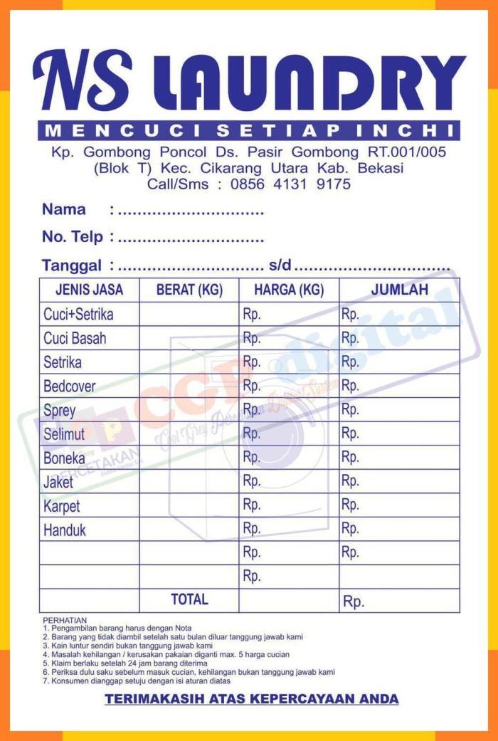 Jual Nota Kontan Custom Untuk Laundry Toko Klontong Bengkel Apotek Dll Dki Jakarta Auto Global Tokopedia