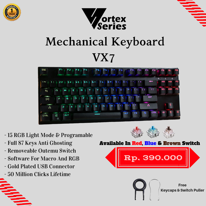 Foto Produk VortexSeries Mechanical Keyboard VX7 (TKL) - Hitam, Outemu Blue dari VortexSeries