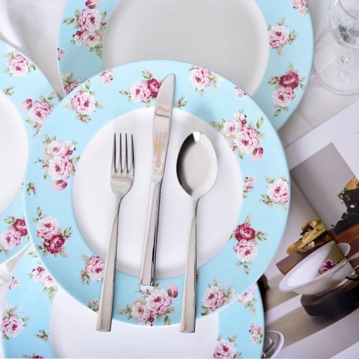 Set of 4 dinner plate modern rose blue