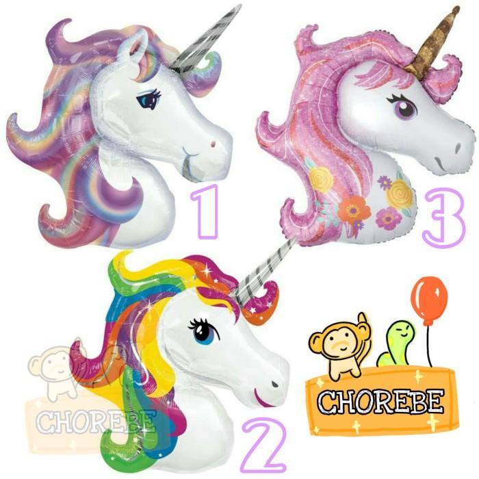 Jual Balon Foil Kepala Kuda Pegasus Unicorn Mini Aneka Warna