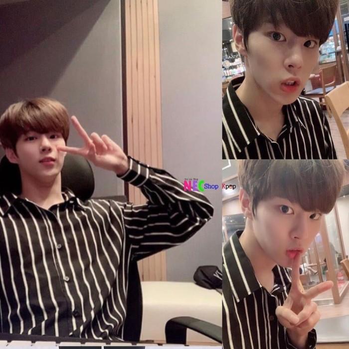 Jual Wooseok Produce X 101 X1 Striped Shirt Black S Kota Tegal Nec Shop Kpop Tokopedia