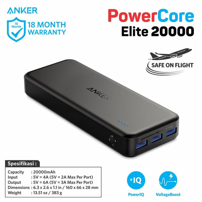 Anker powercore elite 20000 mah powerbank 3 port poweriq 30watt 6a
