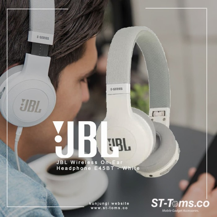 Jbl wireless on-ear headphone e45bt - white