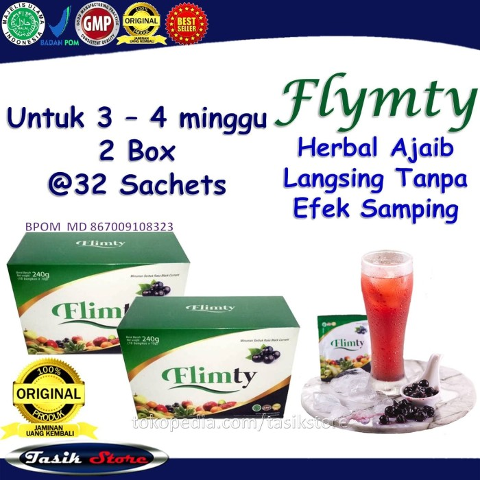 Foto Produk Obat Pelangsing Perut 2 Box Flimty Obat Diet Badan Tubuh Serat Herbal dari Tasik Store