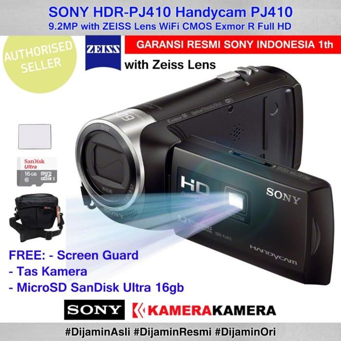 harga Camcorder sony handycam sony pj-410 pj410 + scrgrd + microsd16gb + tas Tokopedia.com