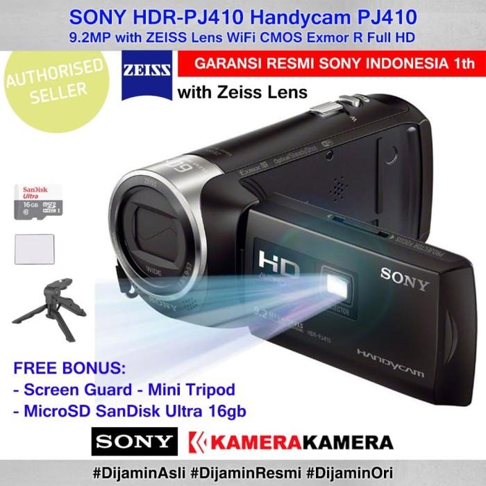 harga Camcorder sony handycam sony pj-410 pj410 +sg +mcrsd16 + mini tripod Tokopedia.com