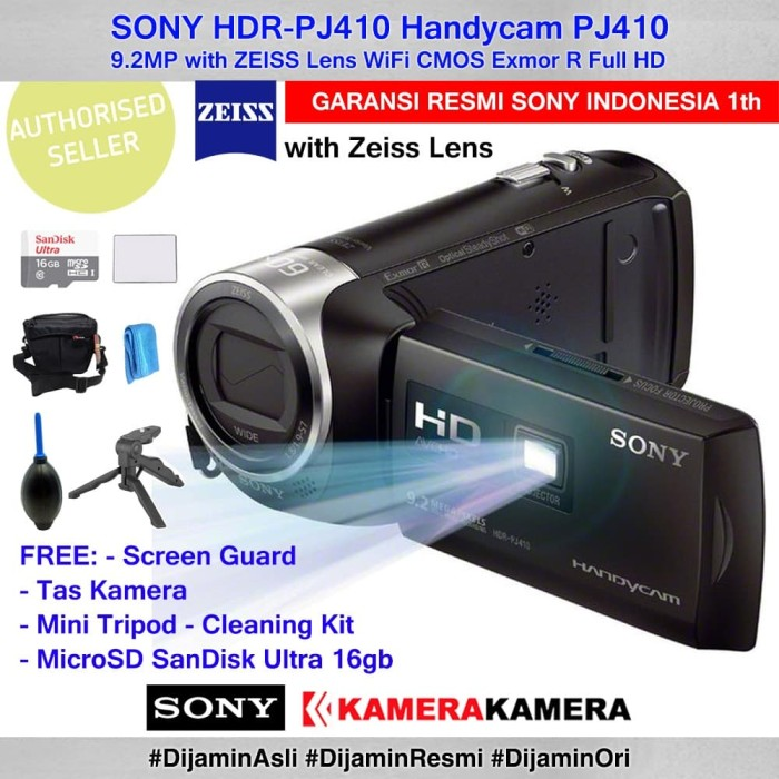 harga Camcorder sony handycam sony pj-410 pj410 +sg+mcrsd16+tas+mntrpd+clnkt Tokopedia.com
