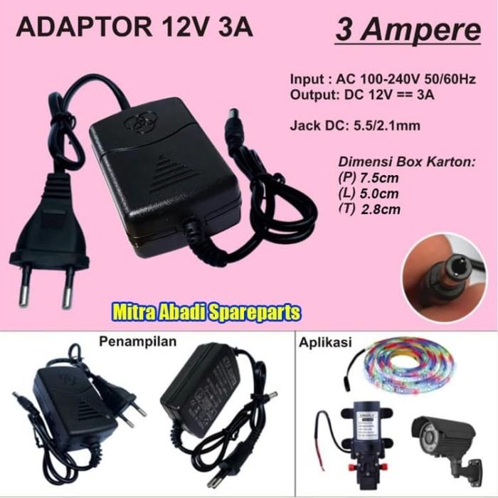 Foto Produk Adaptor 12V 3A 36W / 12 Volt 3 Ampere 36 Watt dari Mitra Abadi Spareparts