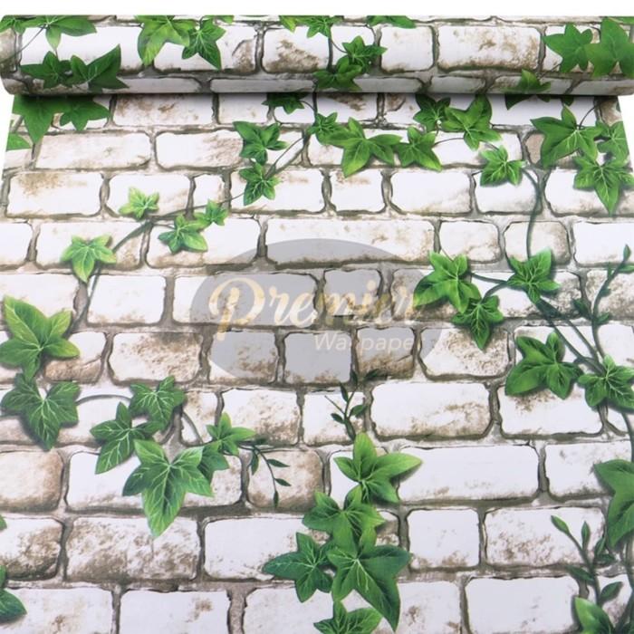 Foto Produk Bata Putih & Daun Wallpaper| 45CM x 10M dari Premier Wallpaper
