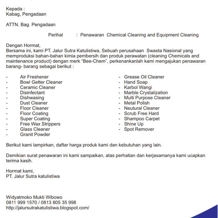 Contoh Surat Penawaran Harga Aluminium