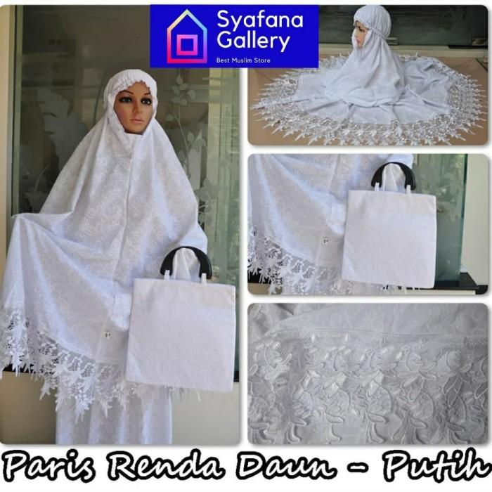 Foto Produk Mukena Katun Paris Bordir Dewasa Putih Bersih Renda Daun Adem Cantik dari Syafana Gallery