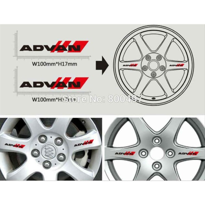 2 SET Wheels ADVAN Cool Modified Cars Sticker Car Wheel Rims Sticker Vinyl