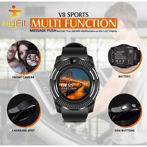 Jual SmartWatch MyFit V8+ Touch Screen Round Face Smartwatch Phone SIM Card  - DKI Jakarta - Vision Multicom | Tokopedia
