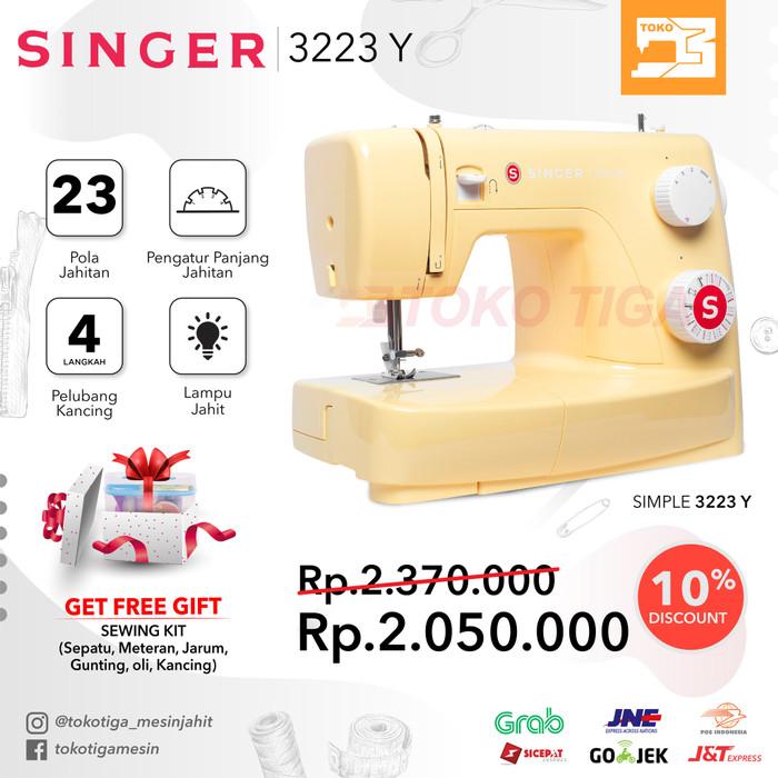 harga [promo] mesin jahit singer 3223 simple (kuning / yellow) - portable Tokopedia.com