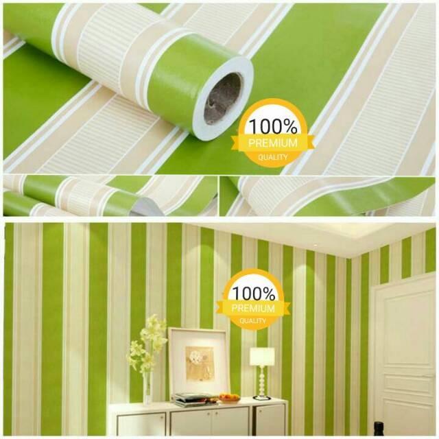 Jual Wallpaper Dinding Ruang Tamu Kamar Garis Hijau Putih Minimalis